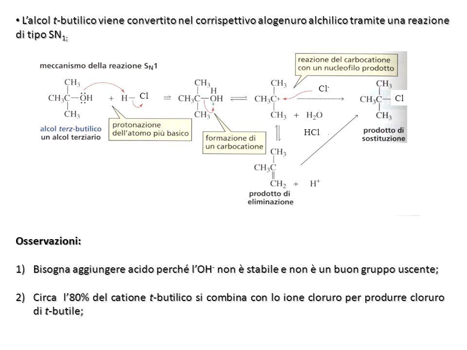 L'alcol t-butilico viene convertito nel corrispettivo alogenuro alchilico tramite una reazione di tipo SN 1; L'alcol t-butilico viene convertito nel c