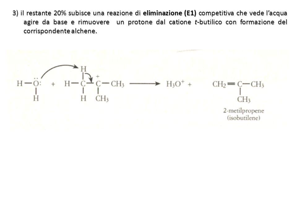 3) il restante 20% subisce una reazione di eliminazione (E1) competitiva che vede l'acqua agire da base e rimuovere un protone dal catione t-butilico