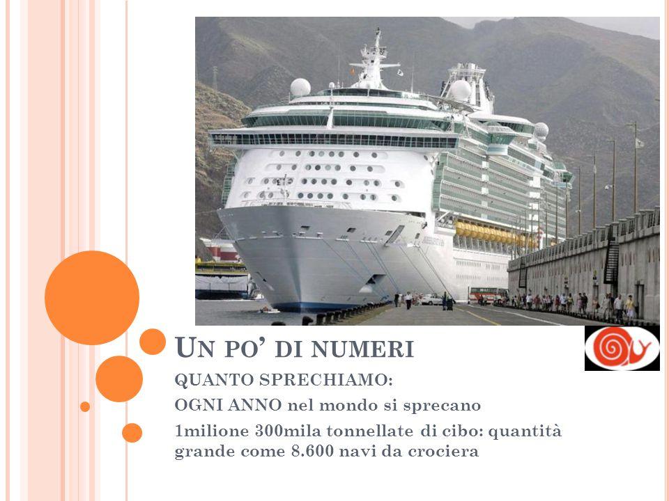 U N PO ' DI NUMERI QUANTO SPRECHIAMO: OGNI ANNO nel mondo si sprecano 1milione 300mila tonnellate di cibo: quantità grande come 8.600 navi da crociera