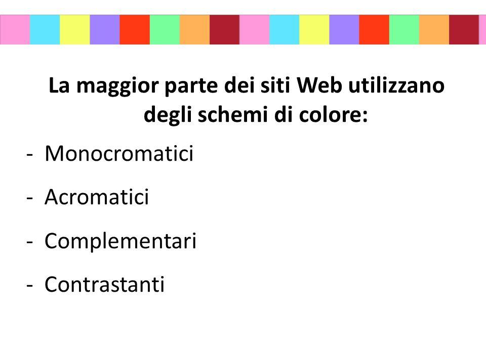 La maggior parte dei siti Web utilizzano degli schemi di colore: -Monocromatici -Acromatici -Complementari -Contrastanti