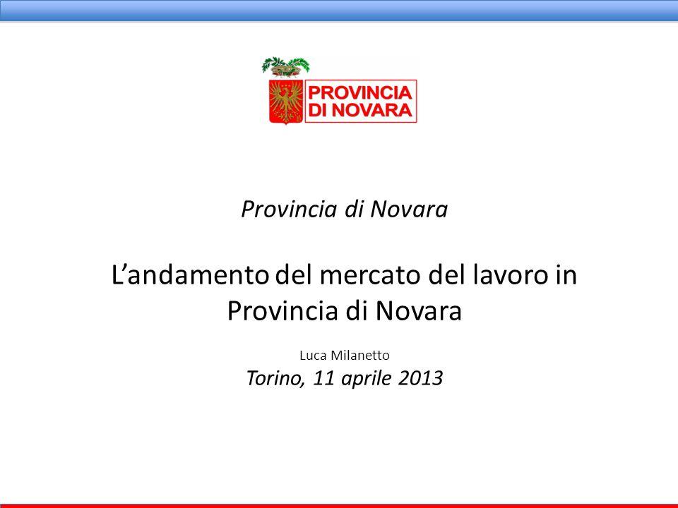Provincia di Novara L'andamento del mercato del lavoro in Provincia di Novara Luca Milanetto Torino, 11 aprile 2013