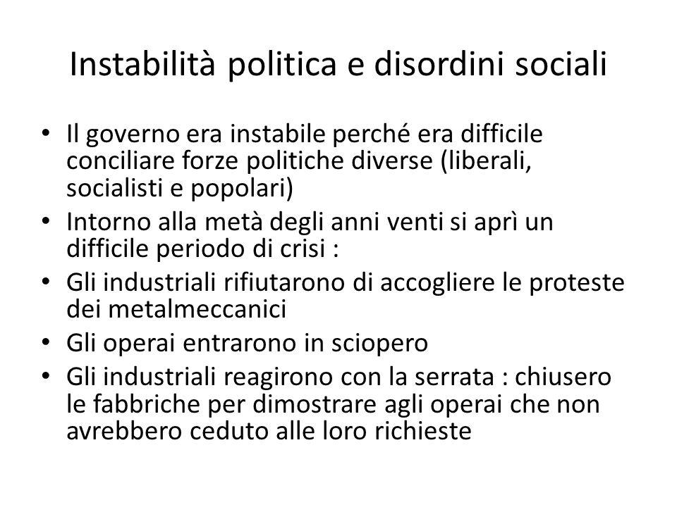 Instabilità politica e disordini sociali Il governo era instabile perché era difficile conciliare forze politiche diverse (liberali, socialisti e popo