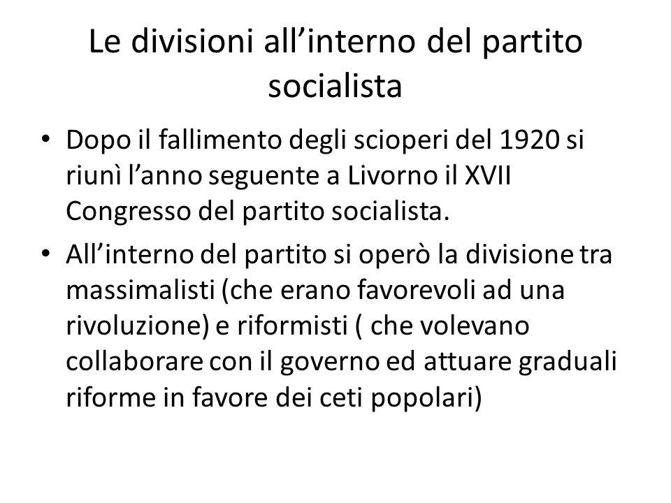 Le divisioni all'interno del partito socialista Dopo il fallimento degli scioperi del 1920 si riunì l'anno seguente a Livorno il XVII Congresso del partito socialista.