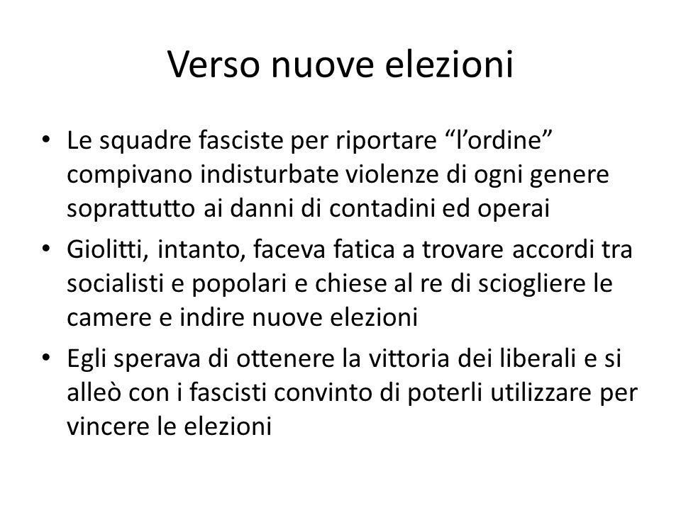 """Verso nuove elezioni Le squadre fasciste per riportare """"l'ordine"""" compivano indisturbate violenze di ogni genere soprattutto ai danni di contadini ed"""