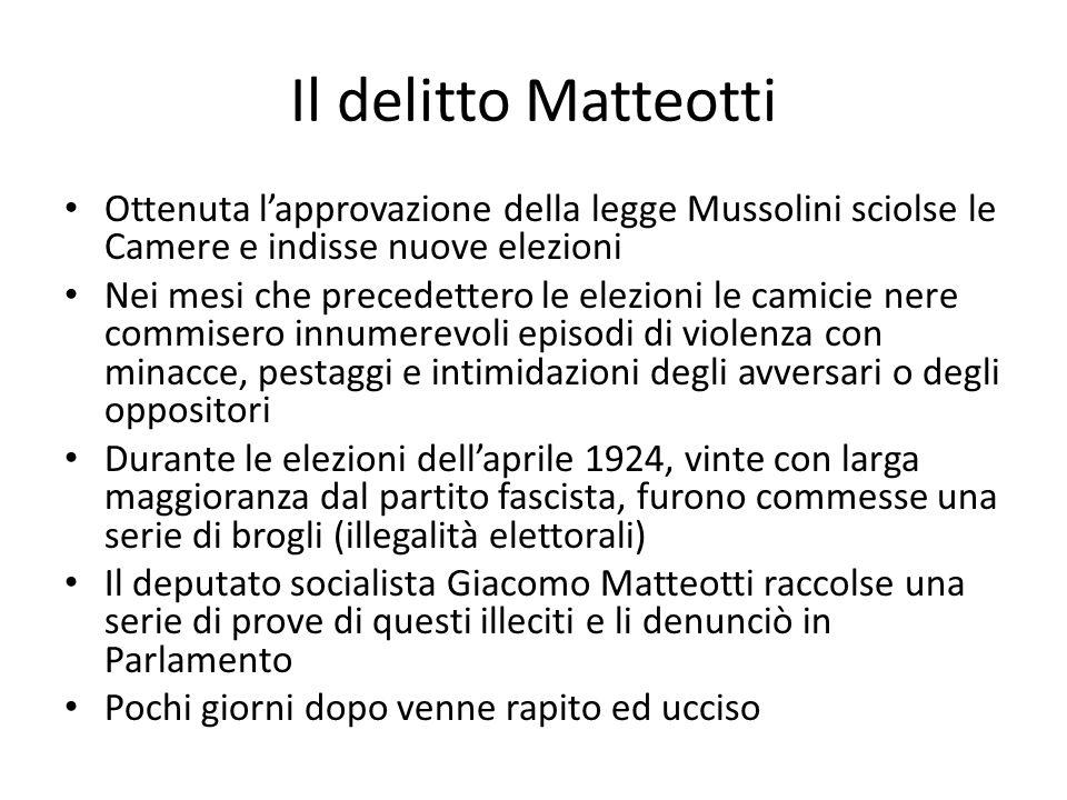 Il delitto Matteotti Ottenuta l'approvazione della legge Mussolini sciolse le Camere e indisse nuove elezioni Nei mesi che precedettero le elezioni le camicie nere commisero innumerevoli episodi di violenza con minacce, pestaggi e intimidazioni degli avversari o degli oppositori Durante le elezioni dell'aprile 1924, vinte con larga maggioranza dal partito fascista, furono commesse una serie di brogli (illegalità elettorali) Il deputato socialista Giacomo Matteotti raccolse una serie di prove di questi illeciti e li denunciò in Parlamento Pochi giorni dopo venne rapito ed ucciso