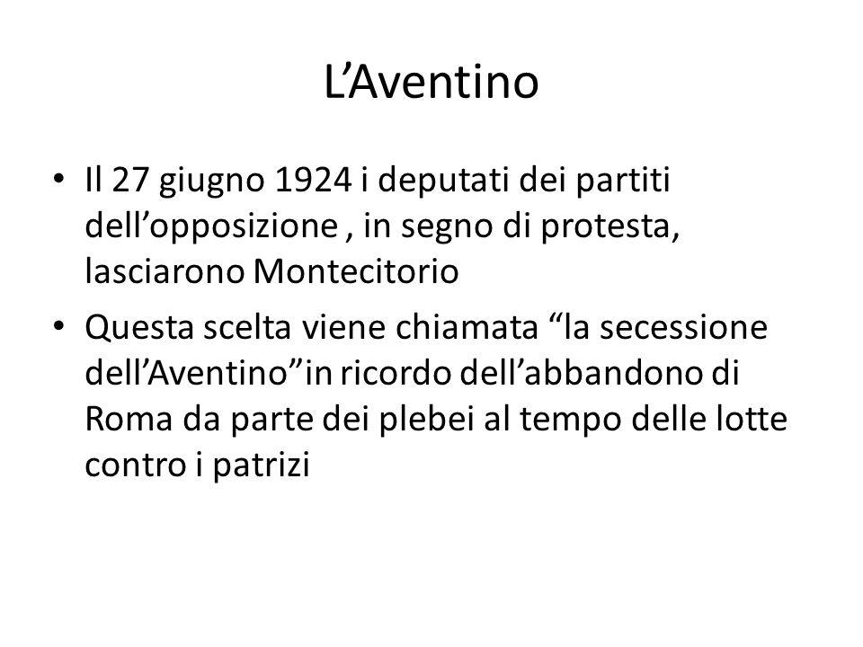 L'Aventino Il 27 giugno 1924 i deputati dei partiti dell'opposizione, in segno di protesta, lasciarono Montecitorio Questa scelta viene chiamata la secessione dell'Aventino in ricordo dell'abbandono di Roma da parte dei plebei al tempo delle lotte contro i patrizi