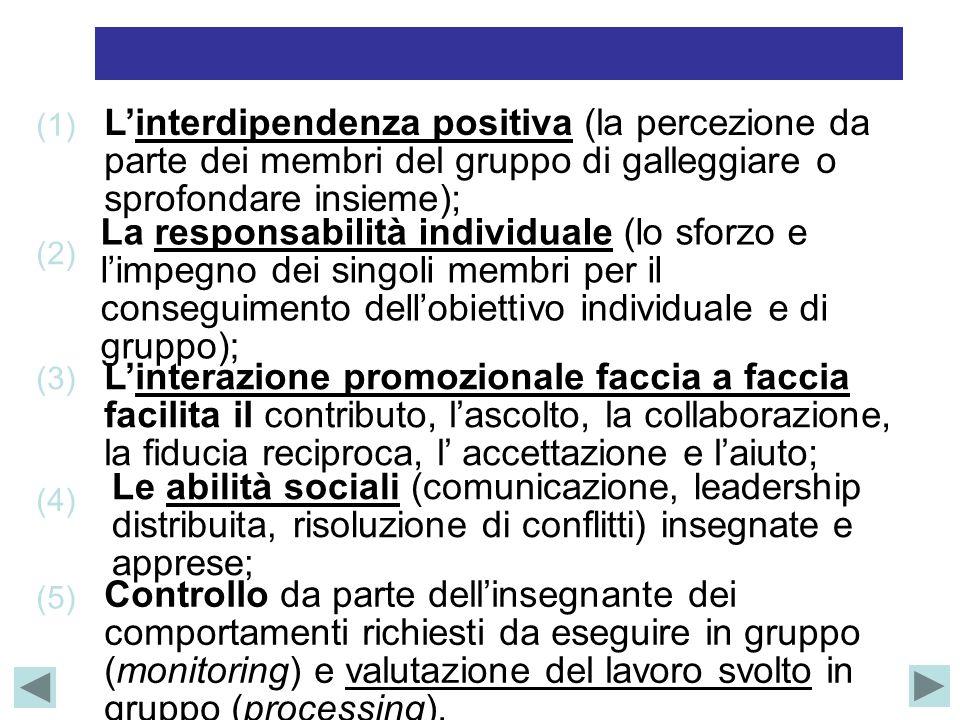 L'interdipendenza positiva (la percezione da parte dei membri del gruppo di galleggiare o sprofondare insieme); (1) La responsabilità individuale (lo sforzo e l'impegno dei singoli membri per il conseguimento dell'obiettivo individuale e di gruppo); (2) L'interazione promozionale faccia a faccia facilita il contributo, l'ascolto, la collaborazione, la fiducia reciproca, l' accettazione e l'aiuto; (3) Le abilità sociali (comunicazione, leadership distribuita, risoluzione di conflitti) insegnate e apprese; (4) Controllo da parte dell'insegnante dei comportamenti richiesti da eseguire in gruppo (monitoring) e valutazione del lavoro svolto in gruppo (processing).