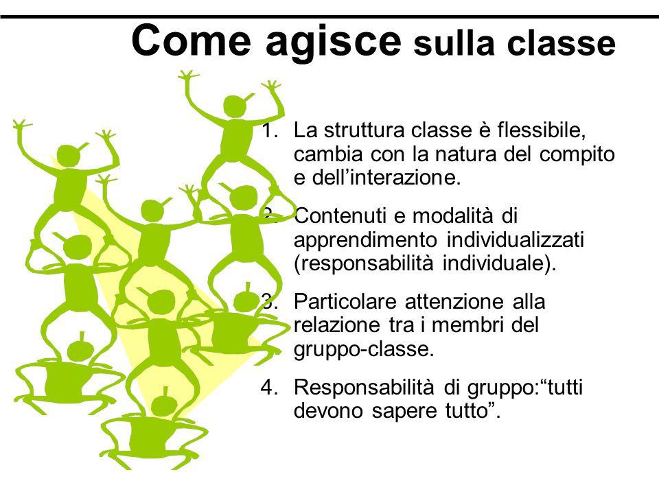 Come agisce sulla classe 1.La struttura classe è flessibile, cambia con la natura del compito e dell'interazione.