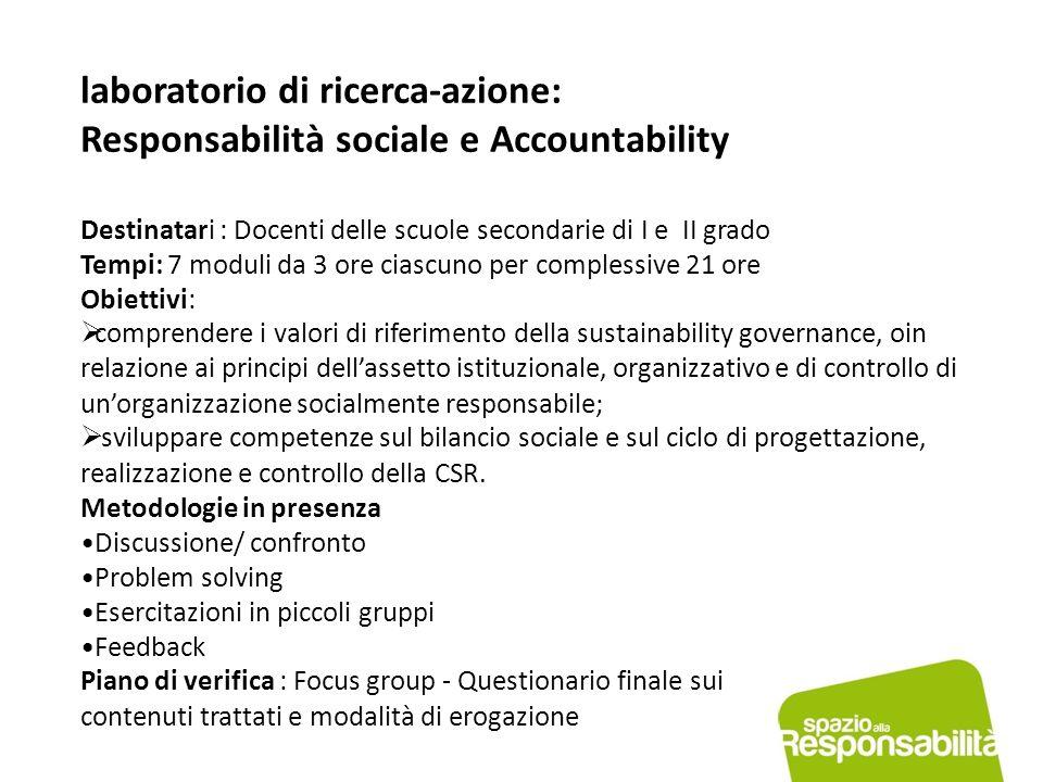 laboratorio di ricerca-azione: Responsabilità sociale e Accountability Destinatari : Docenti delle scuole secondarie di I e II grado Tempi: 7 moduli d