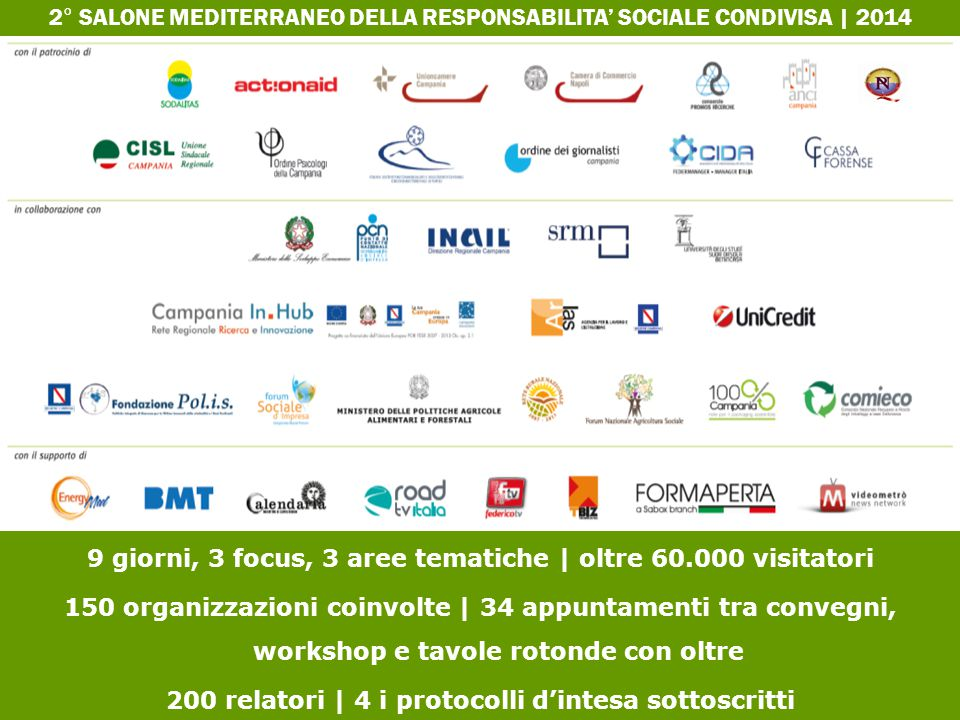 9 giorni, 3 focus, 3 aree tematiche | oltre 60.000 visitatori 150 organizzazioni coinvolte | 34 appuntamenti tra convegni, workshop e tavole rotonde c