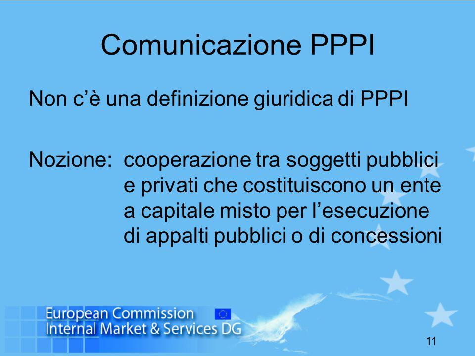 11 Comunicazione PPPI Non c'è una definizione giuridica di PPPI Nozione: cooperazione tra soggetti pubblici e privati che costituiscono un ente a capitale misto per l'esecuzione di appalti pubblici o di concessioni