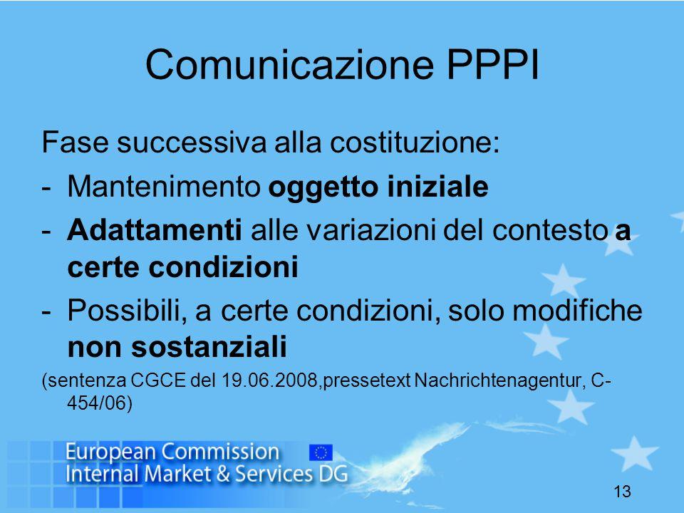 13 Comunicazione PPPI Fase successiva alla costituzione: -Mantenimento oggetto iniziale -Adattamenti alle variazioni del contesto a certe condizioni -Possibili, a certe condizioni, solo modifiche non sostanziali (sentenza CGCE del 19.06.2008,pressetext Nachrichtenagentur, C- 454/06)