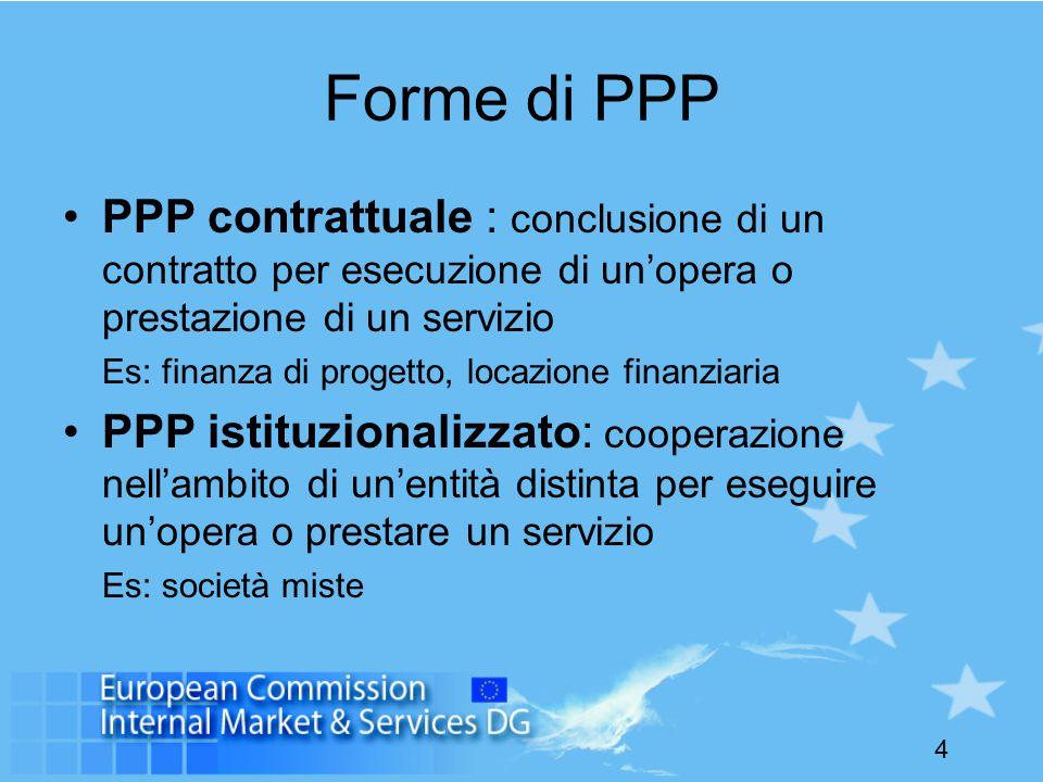 4 Forme di PPP PPP contrattuale : conclusione di un contratto per esecuzione di un'opera o prestazione di un servizio Es: finanza di progetto, locazione finanziaria PPP istituzionalizzato: cooperazione nell'ambito di un'entità distinta per eseguire un'opera o prestare un servizio Es: società miste
