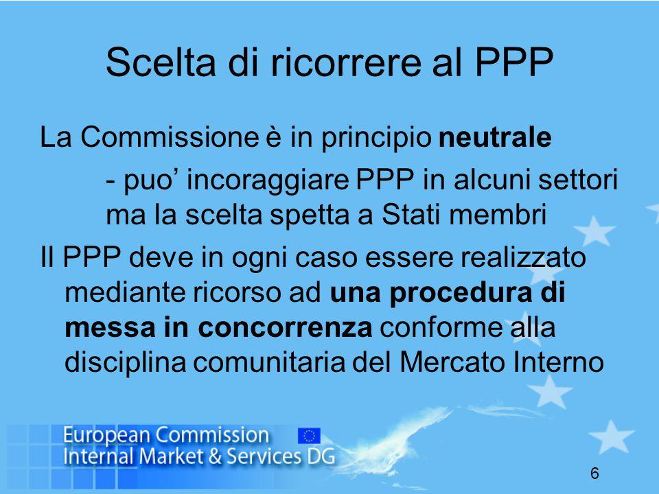 6 Scelta di ricorrere al PPP La Commissione è in principio neutrale - puo' incoraggiare PPP in alcuni settori ma la scelta spetta a Stati membri Il PPP deve in ogni caso essere realizzato mediante ricorso ad una procedura di messa in concorrenza conforme alla disciplina comunitaria del Mercato Interno
