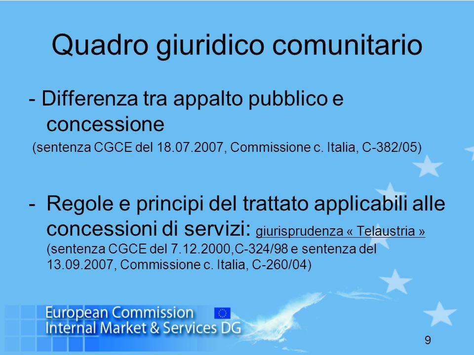 9 Quadro giuridico comunitario - Differenza tra appalto pubblico e concessione (sentenza CGCE del 18.07.2007, Commissione c.