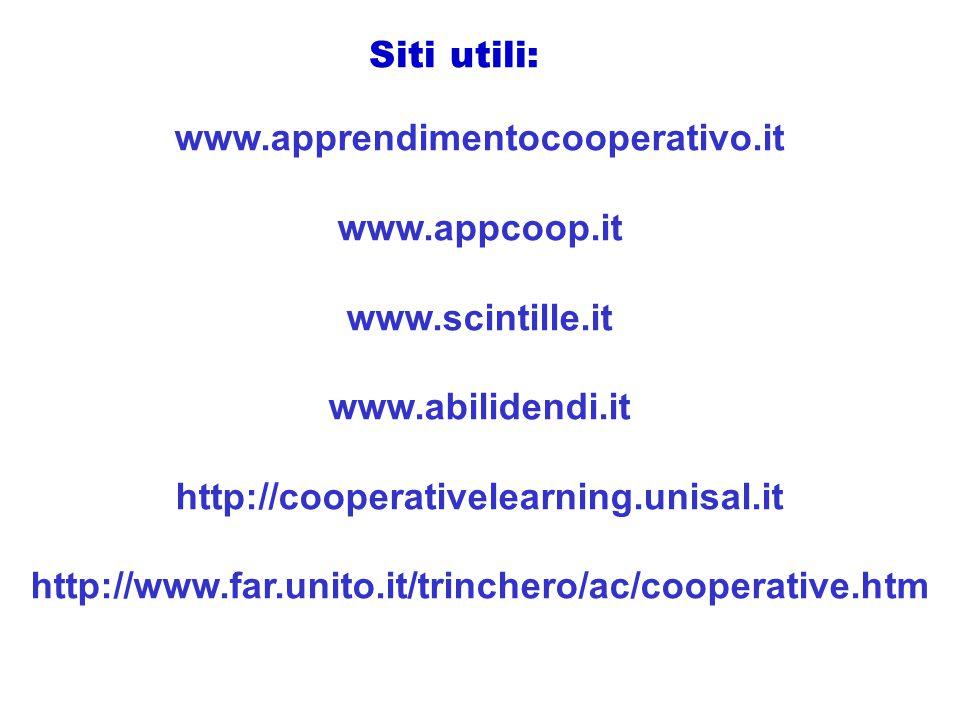 www.apprendimentocooperativo.it www.appcoop.it www.scintille.it www.abilidendi.it http://cooperativelearning.unisal.it http://www.far.unito.it/trinchero/ac/cooperative.htm Siti utili: