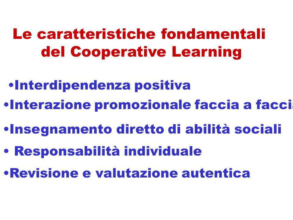 Le caratteristiche fondamentali del Cooperative Learning Responsabilità individuale Interdipendenza positiva Interazione promozionale faccia a faccia Insegnamento diretto di abilità sociali Revisione e valutazione autentica
