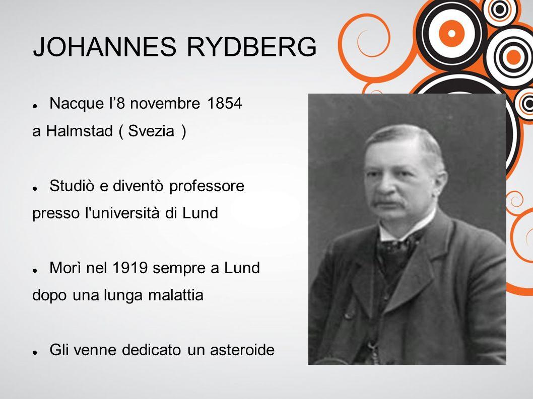 JOHANNES RYDBERG Nacque l'8 novembre 1854 a Halmstad ( Svezia ) Studiò e diventò professore presso l università di Lund Morì nel 1919 sempre a Lund dopo una lunga malattia Gli venne dedicato un asteroide