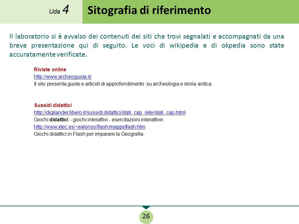 Sitografia di riferimento Il laboratorio si è avvalso dei contenuti dei siti che trovi segnalati e accompagnati da una breve presentazione qui di segu