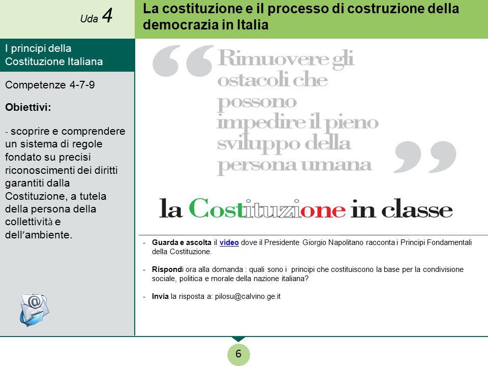 La costituzione e il processo di costruzione della democrazia in Italia -Guarda e ascolta il video dove il Presidente Giorgio Napolitano racconta i Pr
