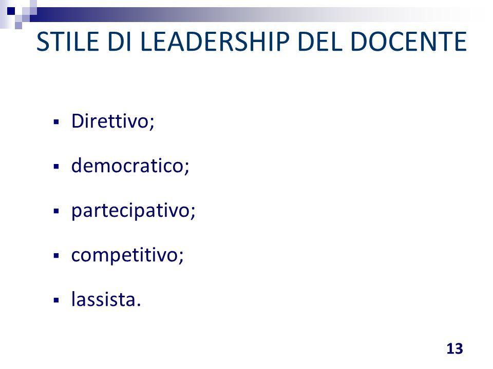 STILE DI LEADERSHIP DEL DOCENTE  Direttivo;  democratico;  partecipativo;  competitivo;  lassista. 13