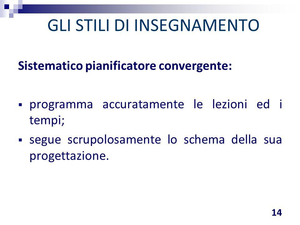 GLI STILI DI INSEGNAMENTO Sistematico pianificatore convergente:  programma accuratamente le lezioni ed i tempi;  segue scrupolosamente lo schema de