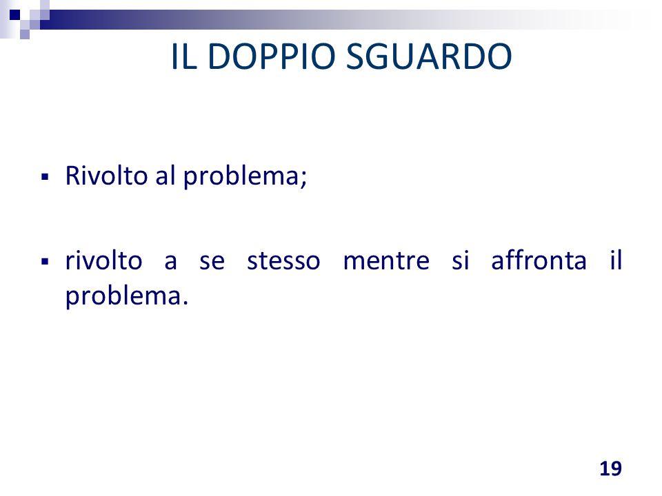 IL DOPPIO SGUARDO 19  Rivolto al problema;  rivolto a se stesso mentre si affronta il problema.