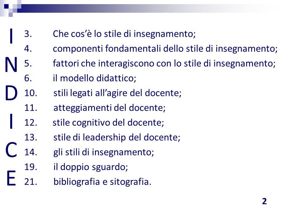INDICEINDICE 3. Che cos'è lo stile di insegnamento; 4. componenti fondamentali dello stile di insegnamento; 5. fattori che interagiscono con lo stile