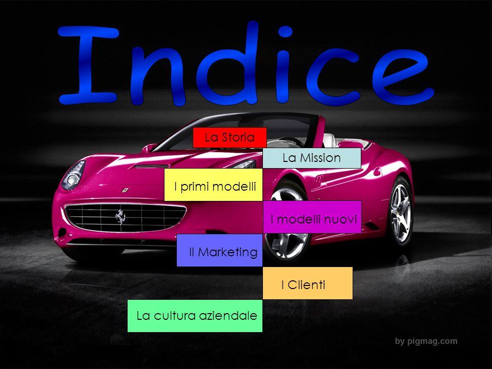 La Storia La Mission I primi modelli I modelli nuovi Il Marketing I Clienti La cultura aziendale