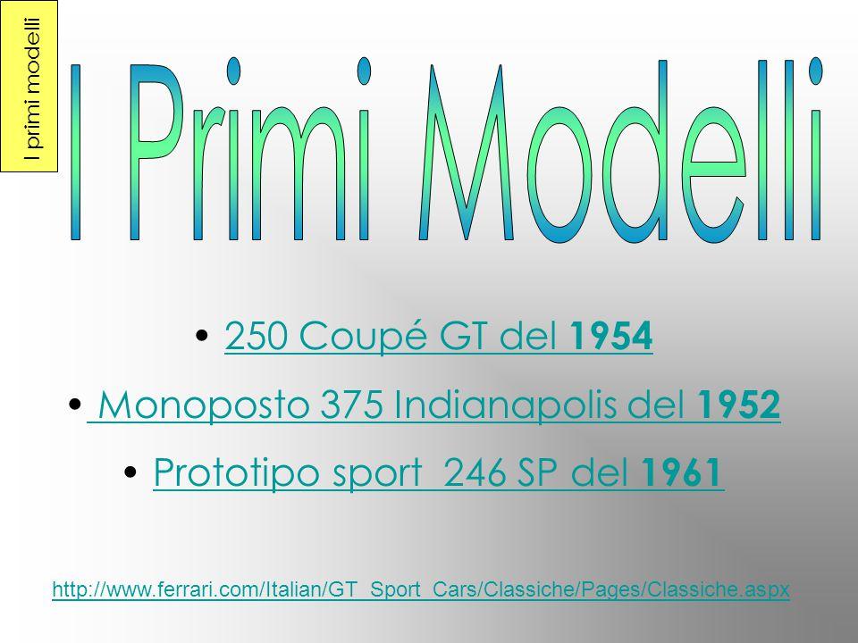250 Coupé GT del 1954 M onoposto 375 Indianapolis del 1952 P rototipo sport 246 SP del 1961 http://www.ferrari.com/Italian/GT_Sport_Cars/Classiche/Pages/Classiche.aspx I primi modelli