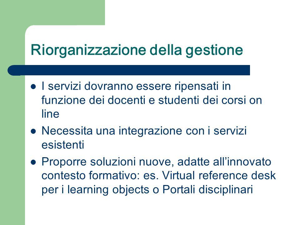 Riorganizzazione della gestione I servizi dovranno essere ripensati in funzione dei docenti e studenti dei corsi on line Necessita una integrazione con i servizi esistenti Proporre soluzioni nuove, adatte all'innovato contesto formativo: es.