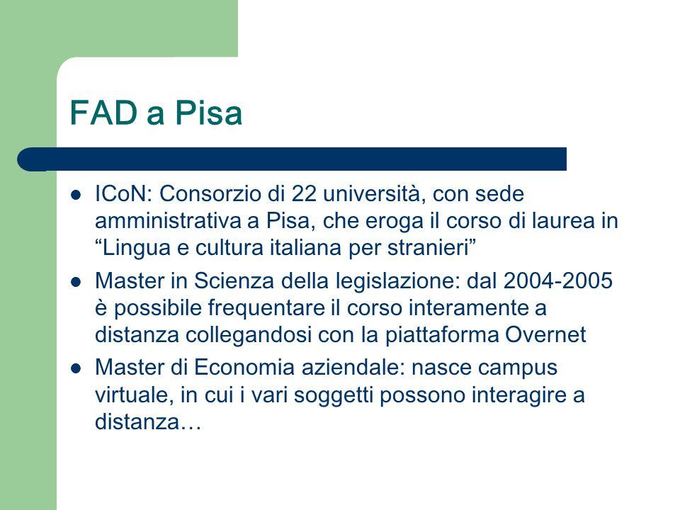 """FAD a Pisa ICoN: Consorzio di 22 università, con sede amministrativa a Pisa, che eroga il corso di laurea in """"Lingua e cultura italiana per stranieri"""""""
