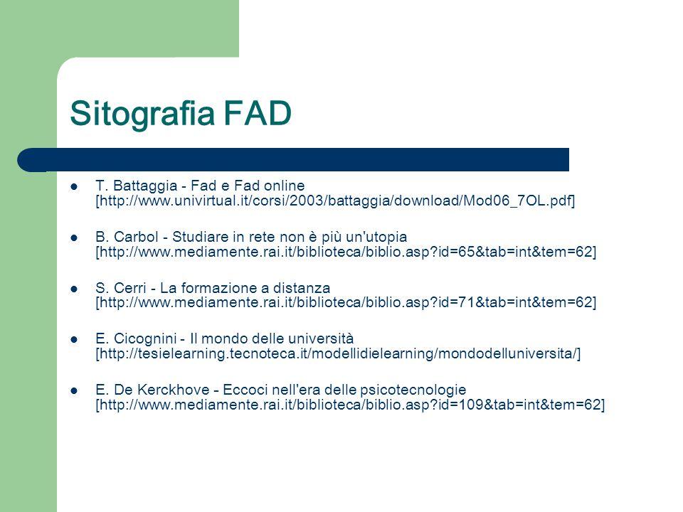 Sitografia FAD T. Battaggia - Fad e Fad online [http://www.univirtual.it/corsi/2003/battaggia/download/Mod06_7OL.pdf] B. Carbol - Studiare in rete non
