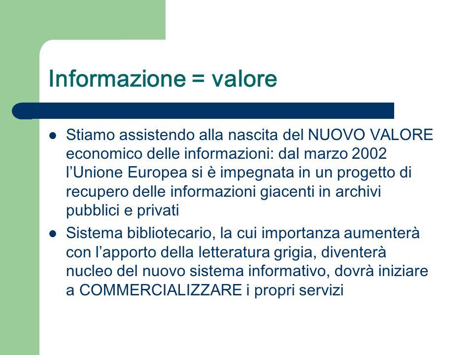 Informazione = valore Stiamo assistendo alla nascita del NUOVO VALORE economico delle informazioni: dal marzo 2002 l'Unione Europea si è impegnata in