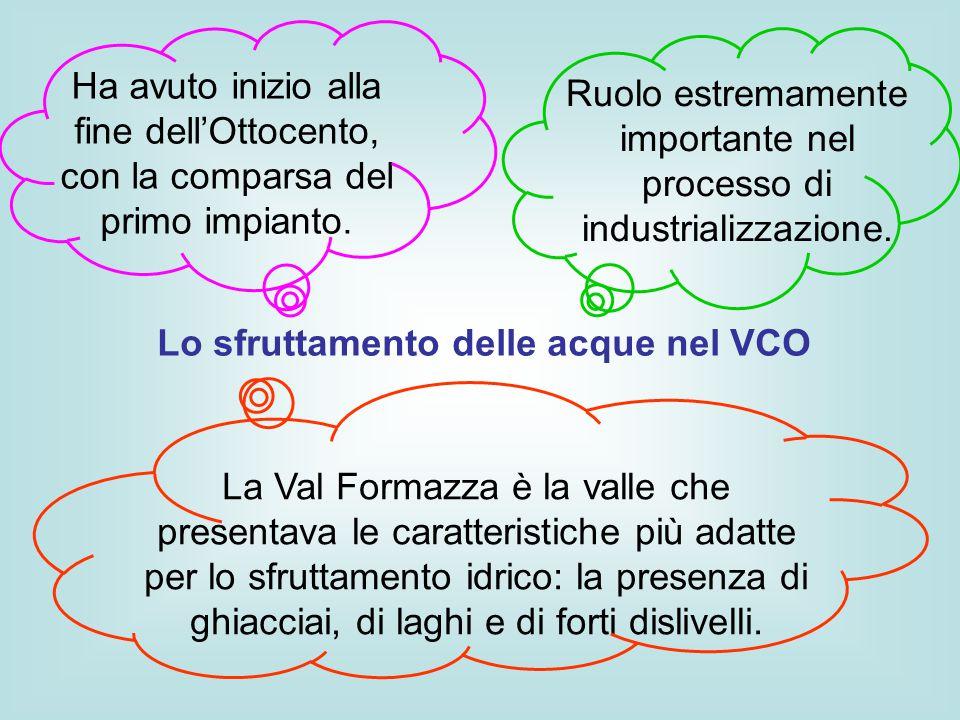 Lo sfruttamento delle acque nel VCO Ruolo estremamente importante nel processo di industrializzazione. Ha avuto inizio alla fine dell'Ottocento, con l