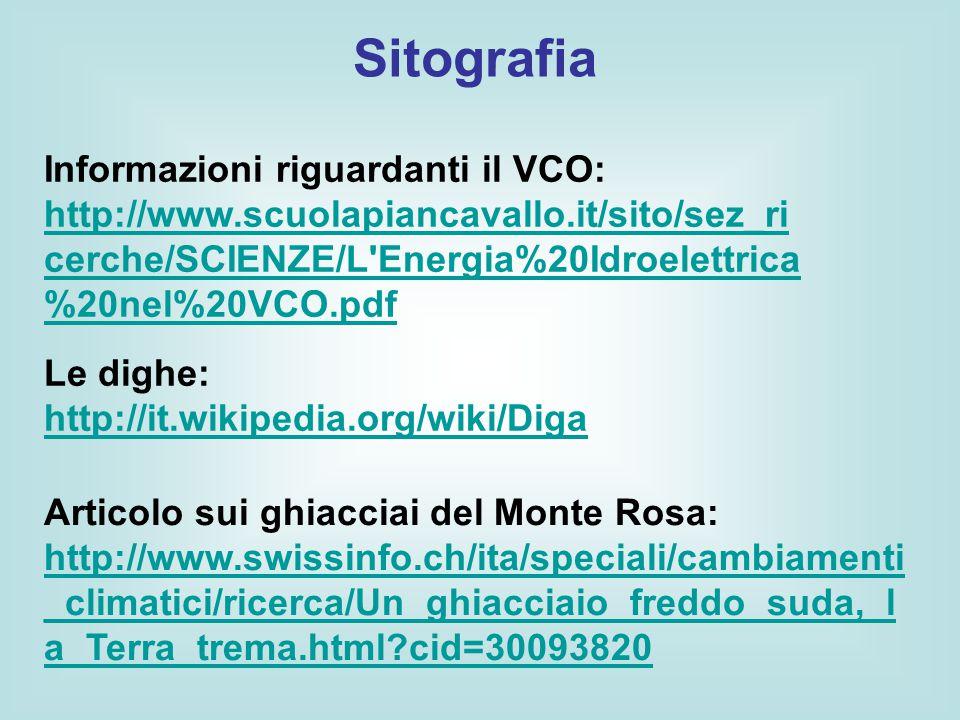 Sitografia Informazioni riguardanti il VCO: http://www.scuolapiancavallo.it/sito/sez_ri cerche/SCIENZE/L'Energia%20Idroelettrica %20nel%20VCO.pdf http