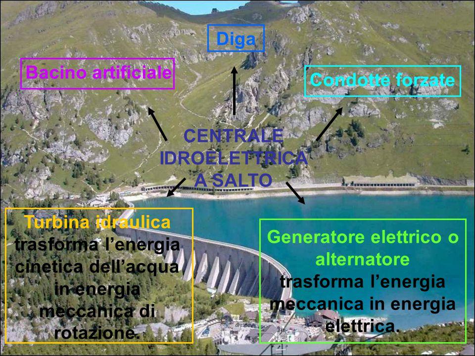 CENTRALE IDROELETTRICA A SALTO Bacino artificiale Diga Condotte forzate Turbina idraulica trasforma l'energia cinetica dell'acqua in energia meccanica