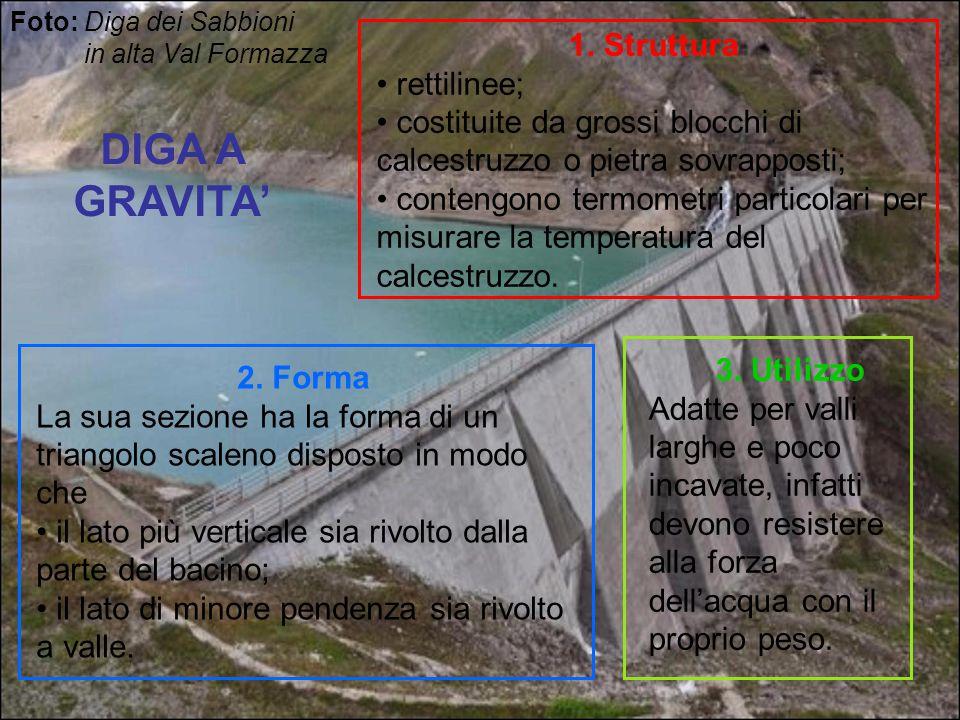DIGA A GRAVITA' 1. Struttura rettilinee; costituite da grossi blocchi di calcestruzzo o pietra sovrapposti; contengono termometri particolari per misu