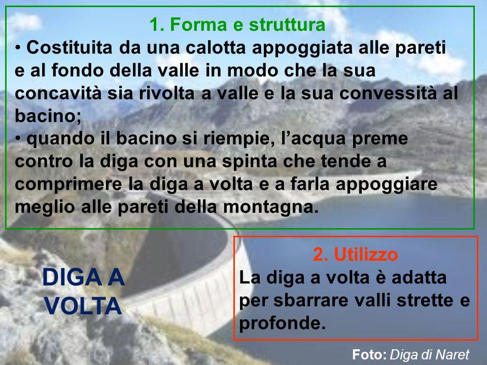 DIGA A VOLTA 1. Forma e struttura Costituita da una calotta appoggiata alle pareti e al fondo della valle in modo che la sua concavità sia rivolta a v