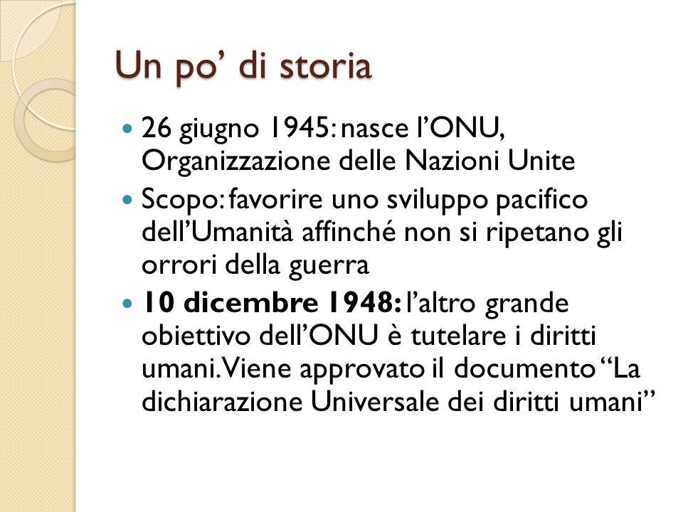 Un po' di storia 26 giugno 1945: nasce l'ONU, Organizzazione delle Nazioni Unite Scopo: favorire uno sviluppo pacifico dell'Umanità affinché non si ri