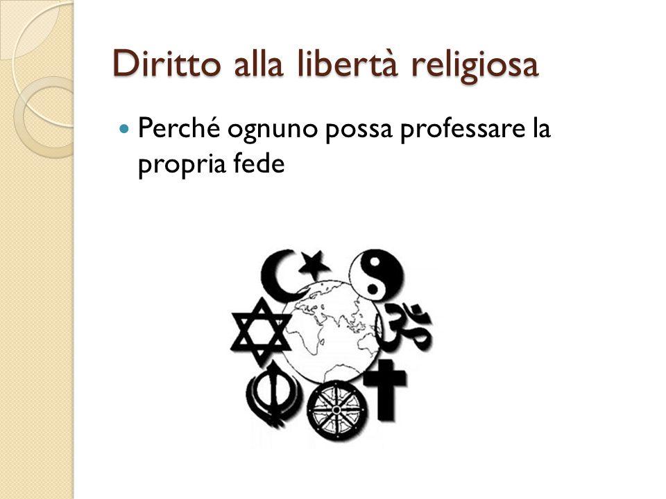 Diritto alla libertà religiosa Perché ognuno possa professare la propria fede