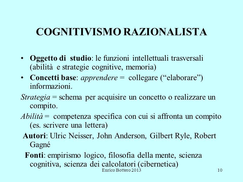 Enrico Bottero 201310 COGNITIVISMO RAZIONALISTA Oggetto di studio: le funzioni intellettuali trasversali (abilità e strategie cognitive, memoria) Concetti base: apprendere = collegare ( elaborare ) informazioni.