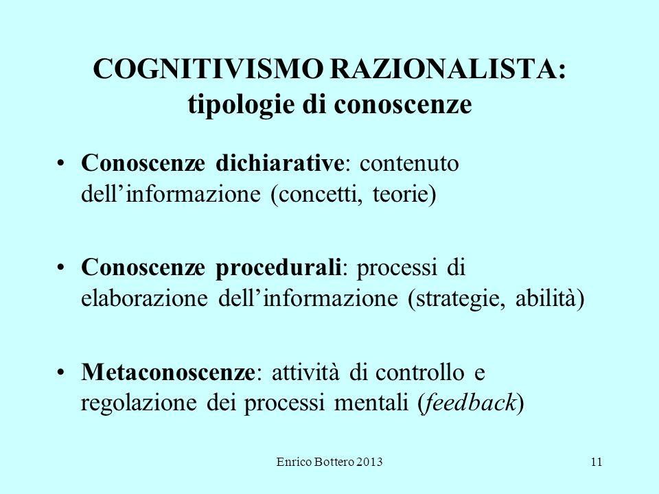 Enrico Bottero 201311 COGNITIVISMO RAZIONALISTA: tipologie di conoscenze Conoscenze dichiarative: contenuto dell'informazione (concetti, teorie) Conoscenze procedurali: processi di elaborazione dell'informazione (strategie, abilità) Metaconoscenze: attività di controllo e regolazione dei processi mentali (feedback)