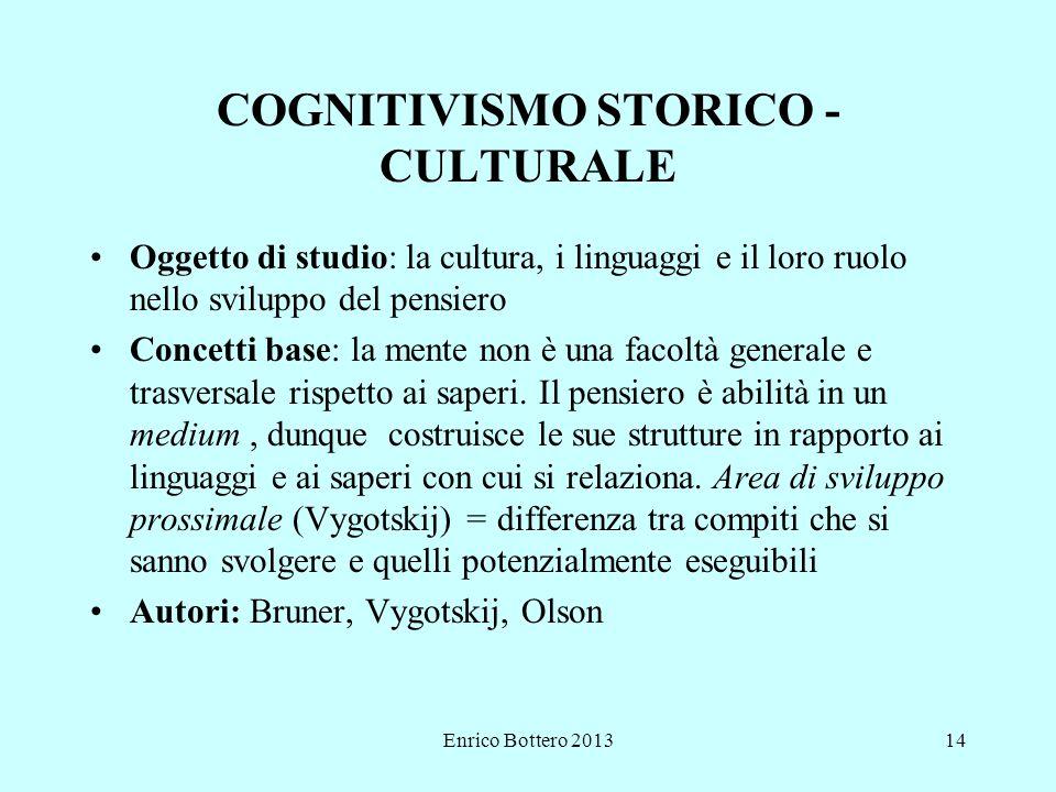 Enrico Bottero 201314 COGNITIVISMO STORICO - CULTURALE Oggetto di studio: la cultura, i linguaggi e il loro ruolo nello sviluppo del pensiero Concetti base: la mente non è una facoltà generale e trasversale rispetto ai saperi.