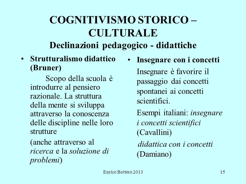 Enrico Bottero 201315 COGNITIVISMO STORICO – CULTURALE Declinazioni pedagogico - didattiche Strutturalismo didattico (Bruner) Scopo della scuola è introdurre al pensiero razionale.