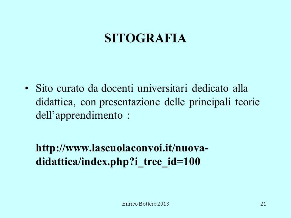 Enrico Bottero 201321 SITOGRAFIA Sito curato da docenti universitari dedicato alla didattica, con presentazione delle principali teorie dell'apprendimento : http://www.lascuolaconvoi.it/nuova- didattica/index.php?i_tree_id=100