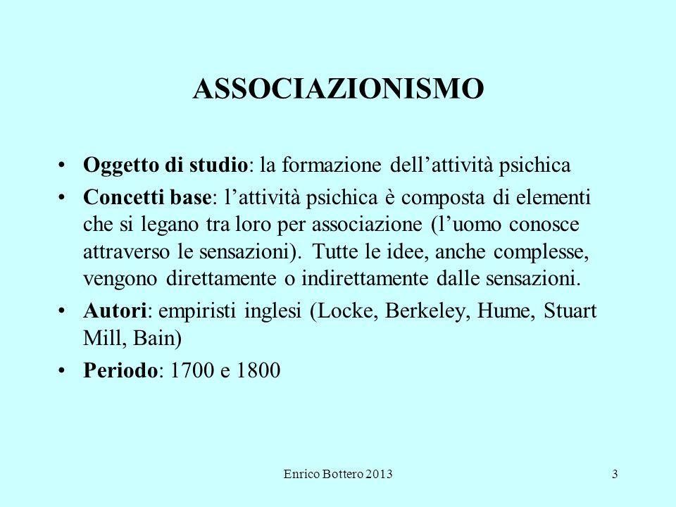 Enrico Bottero 20133 ASSOCIAZIONISMO Oggetto di studio: la formazione dell'attività psichica Concetti base: l'attività psichica è composta di elementi che si legano tra loro per associazione (l'uomo conosce attraverso le sensazioni).