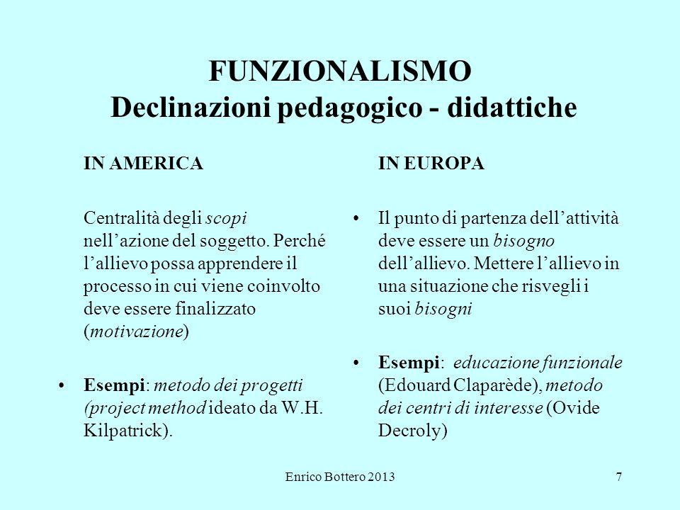 Enrico Bottero 20137 FUNZIONALISMO Declinazioni pedagogico - didattiche IN AMERICA Centralità degli scopi nell'azione del soggetto.