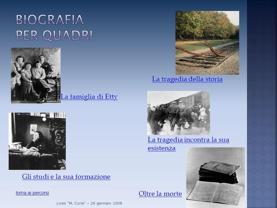 La famiglia di Etty Gli studi e la sua formazione La tragedia della storia La tragedia incontra la sua esistenza Oltre la morte torna ai percorsi Liceo M.