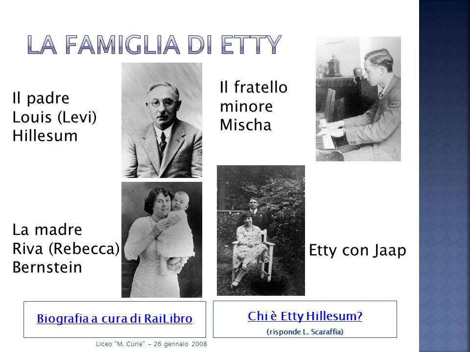 Biografia a cura di RaiLibro Chi è Etty Hillesum. (risponde L.